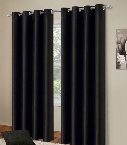 PLAIN BLACK COLOUR THERMAL BLACKOUT BEDROOM LIVINGROOM READYMADE CURTAINS RINGTOP EYELETS